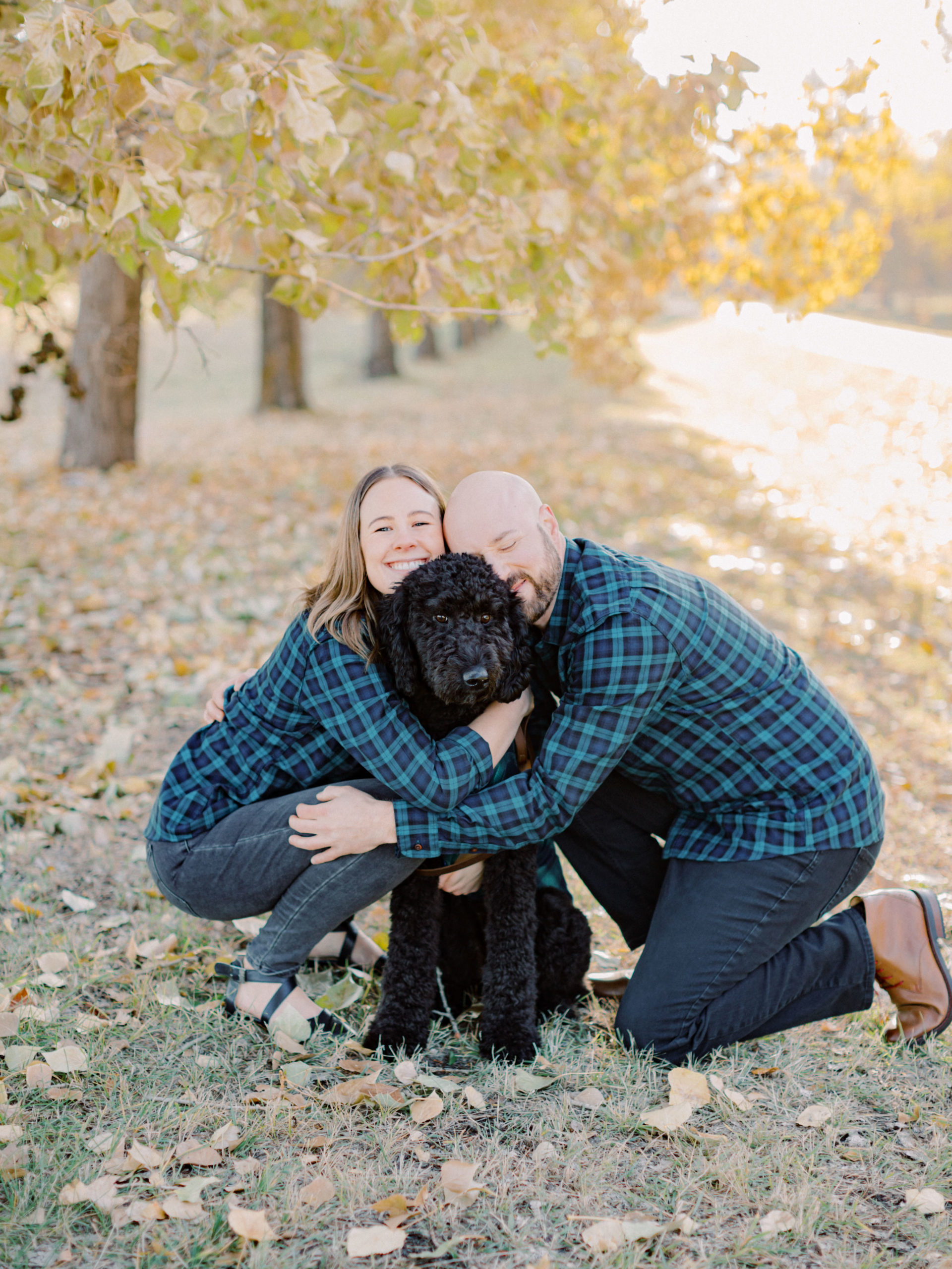 Engagement with cute dogs in Edmonton