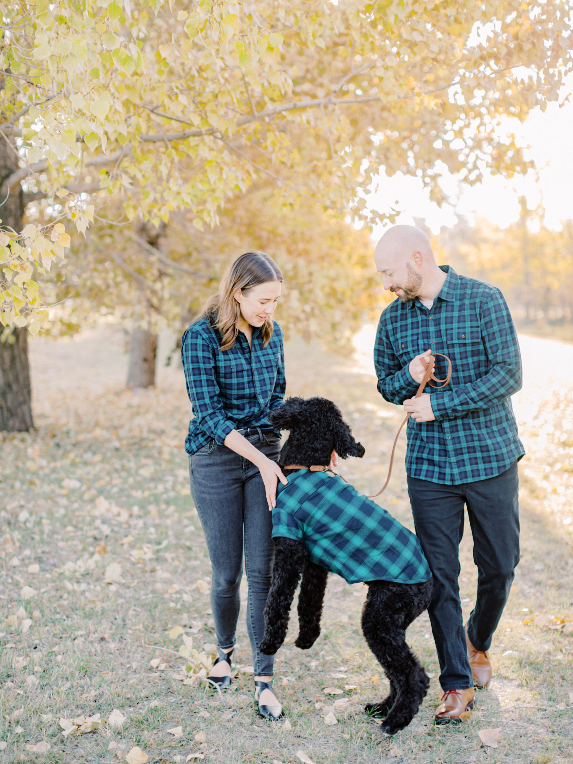Nice and Paige engagement with dogs