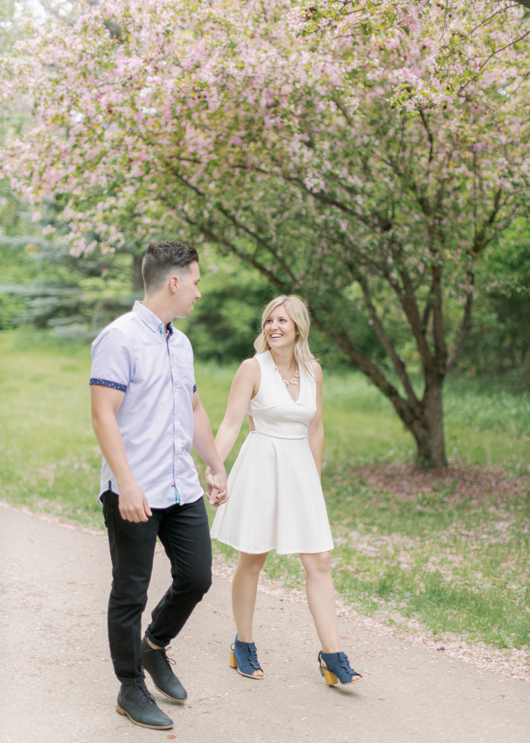 walk and smile during engagement session