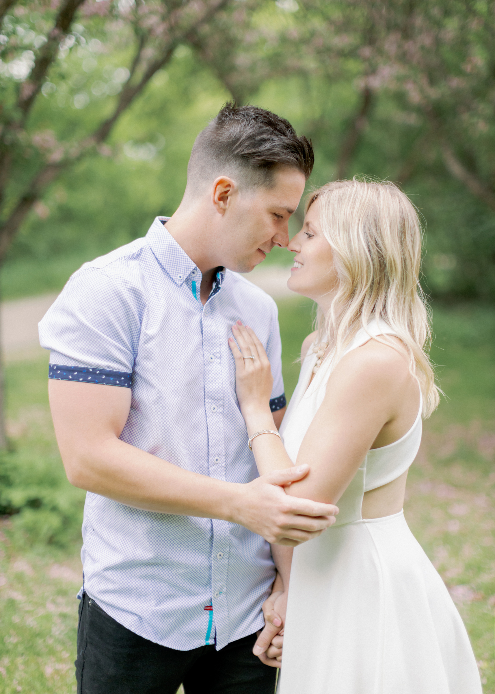 tanner and alyssa nose to nose during engagement session