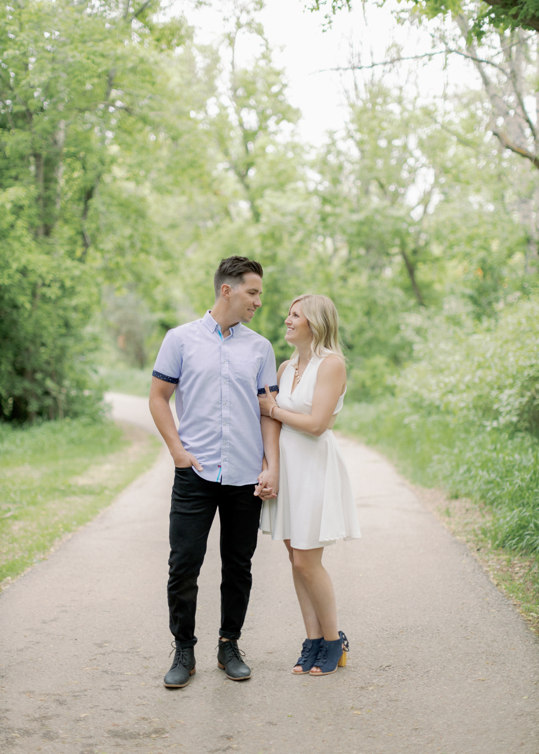 look at each other during engagement session