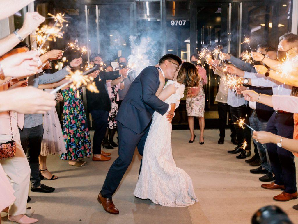 Sparkler exit at edmonton downtown wedding