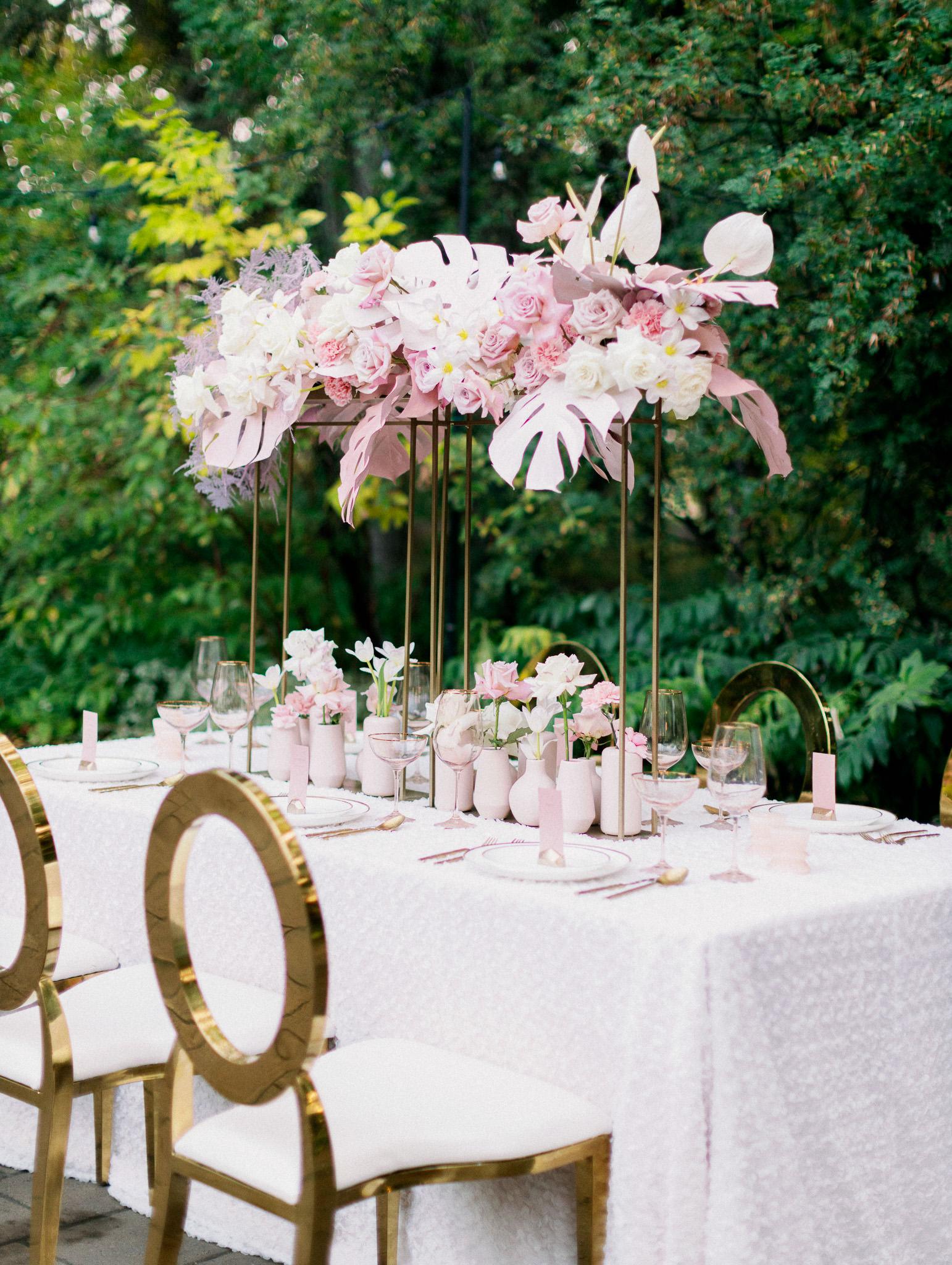 blush table setup at Bronte Bride's True-to-Hue Workshop